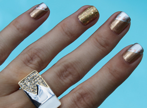 thelooksforless:  manicure mondays - mixed metals manicure diy tutorial and more pics at TheLooksForLess.com