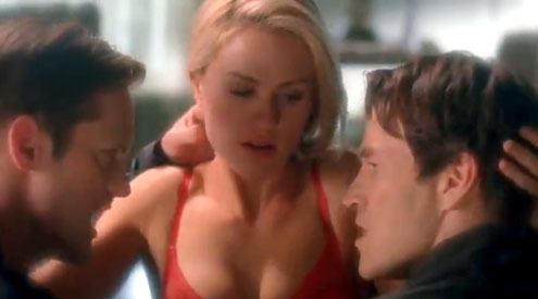 luvtheviking:   Sookie's threesome dream with Eric and Bill from True Blood Season 4 has made TV Guide's list for Unsexiest Sex Scenes Vol. IV! This is what they said about it…   Bill, Sookie and Eric, True Blood True Blood never met a dream sequence it didn't love, but Sookie's imagined threesome with her two vampire suitors, Bill and Eric, was more like a nightmare. Sookie's breathless quibbling and the men's puppy-eyed declarations of admiration are the opposite of what makes the edgy show so watchable. Sure, it's played for laughs, but we fans take the choice of Miss Stackhouse's sexual partners to be serious business. So knock off the shenanigans, Alan Ball.  I agree even if i lmfao for the background music which was the fist element that supposed to make us understand it wasn't a classic dream and that it wasn't a serious one. Bill was there like the third wheel because he gave her his blood. The dream was about E/S actually because she dreamed of him at first, she let him in (eheheh), she wanted him there. Still i didn't was angry, even if it was stupid imo, i really lol because of the music :D