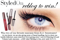 styledon:  By now you have probably entered our contest to win a Chanel handbag, but for our tumblr followers we have a little something extra this week. Reblog this post for a chance to win 1 of 5 sets of mascara!