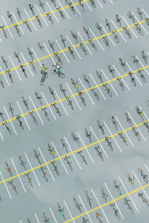theawl:  idlewyld:  theatlantic:  Parking Space  In a perfect world.  What a phenomenally wasteful way to park bikes!