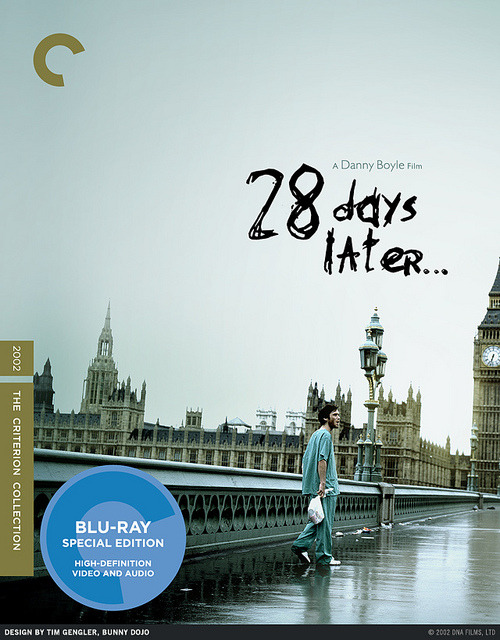 "bunnydojo:  28 Days Later - Fake Criterion Design on Flickr. My original custom cover design honoring ""28 Days Later,"" in faux-Criterion styling28 Days Later © 2002 DNA Films, LTD. All Rights Reserved.Still Photography: Peter Mountain"