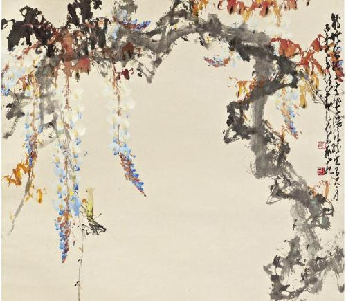Zhao Shao'Ang, Chinese,  Wisteria and Grasshopper, 1966 Sotheby's, Fine Chinese Paintings, Hong Kong, Oct 4th