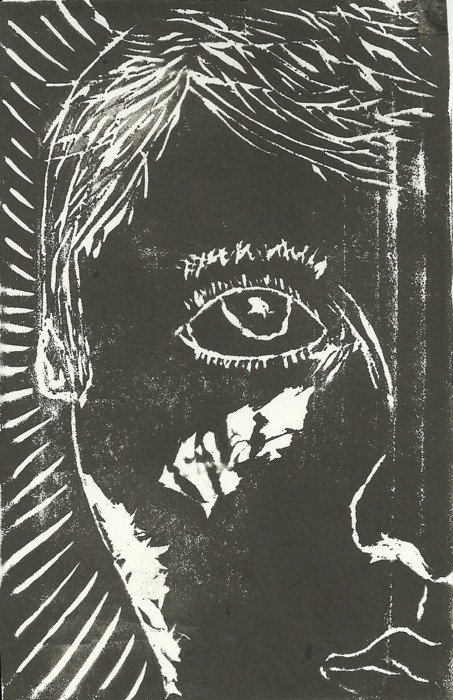 "Self-Portrait, Linoleum Block Print, 6""x4"""