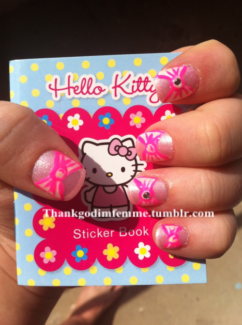 Hello kitty inspired bow nails!  I'm so impressed with how these turned out!! I love it!