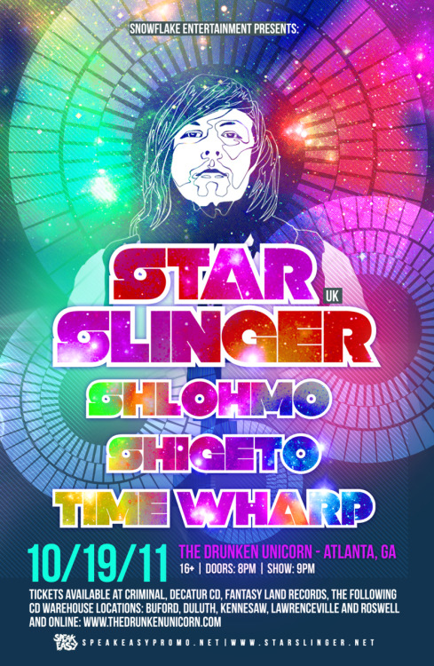 timewharp:  Star Slinger, Shlohmo, Shigeto + Time Wharp at The Drunken Unicorn in Atlanta October 19.