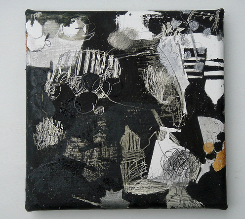 mayako nakamura Naisho Banashi (2010) oil on canvas, pigment, charcoal, graphite 230x230x30mm