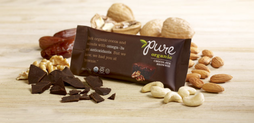 "Product Review Time: Pure Chocolate Brownie Bars I'm obsessed. Most ""health"" bars out there are dry and artificial, but these Pure bars are organic, vegan and amazingly tasty for a wannabe-brownie. They're very fudgy - you may not be a fan if you like cakey brownies - and packed with nuts. I have no idea how they managed to make such simple ingredients taste like a fudgy brownie but I'm not complaining.  So if you're craving a brownie but don't want to splurge on calories or fat, try one out! Nutrition Info: 1 bar 180 calories 7 g of fat (.5 g saturated) 4 g of fiber 18 g of sugar (a little high, but worth it.) 7 g of protein Where to buy: Whole Foods, Trader Joe's, Health Markets, Amazon"