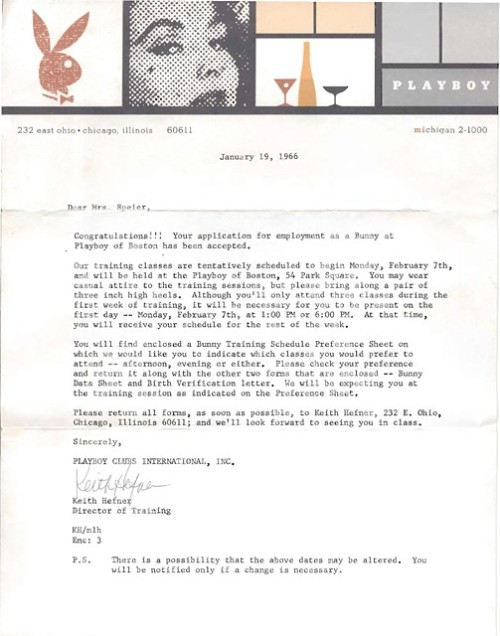 An employee's acceptance letter from the Playboy Club of Boston, upon being hired as a Bunny in 1966.