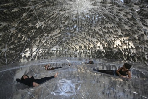 "simplypi:  Artist Tomas Saraceno has created a utopic world of inflatable ""biospheres"" and levitating gardens. Did we mention bouncy floors?"