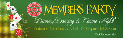 Firemen's Relief members, sign up now for the annual Members Party. This year, try your hand at casino games and see if Lady Luck is on your side. Don't miss this fun event.