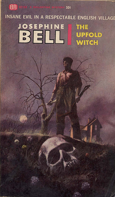 "by uk vintage on Flickr. The Upfold Witch by Josephine Bell, 1956. Cover art by Paul Lehr. ""Insane evil in a respectable English village."""