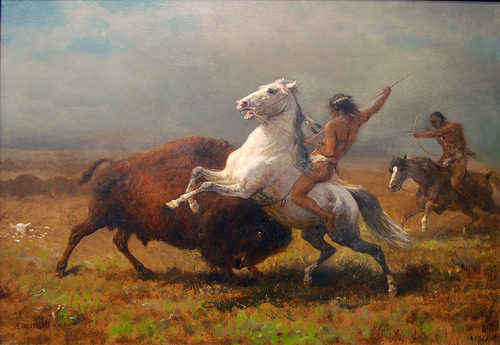 lustforthemoonlight:  Indians Hunting Buffalo, circa 1888 (by Maulleigh) Albert Bierstadt
