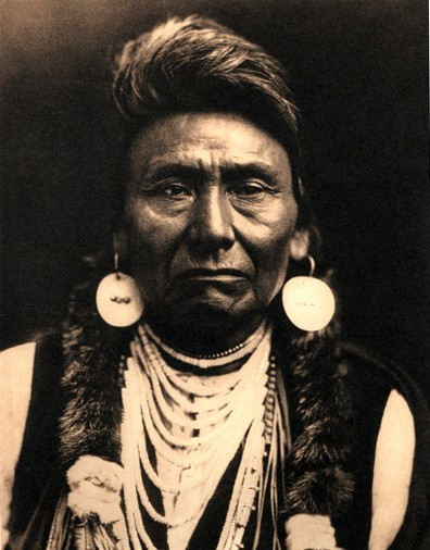 "paperimages:  Edward S. Curtis photograph of Chief Joseph, chief of the Wal-lam-wat-kain (Wallowa) band of Nez Perce Chief Joseph was known largely ""as a humanitarian and peacemaker"" and ""for his principled resistance"" to his peoples forced removal to reservations. [src]"