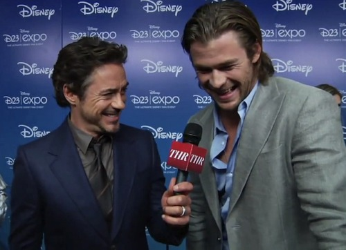 Chris Hemsworth and Robert Downey Jr at D23 Expo