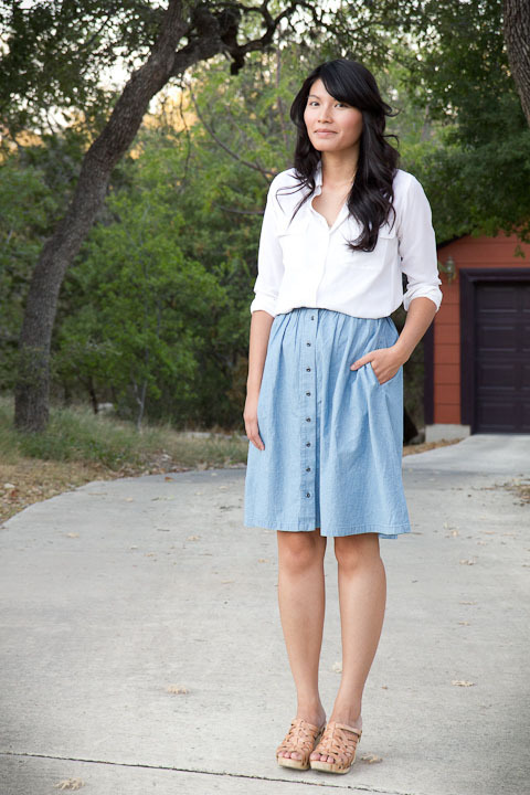 2011. the classics.   equipment signature blouse. madewell sightseer skirt. gloria wedges by bed stu.  in august, jen (from jen loves kev) paired her chambray skirt with a simple white blouse. she looked great and this morning i thought, i can do it, too! how i kept myself spotless all day with various cut and paste projects, i'll never know. :o)  well, gals, no paper doll tonight. i'm almost done with my new centers. hopefully i'll return to regularly scheduled programming tomorrow and tackle my blog to-do list: post necklaces on etsy, post clothes for sale, and more!  the look | blouse | skirt | wedges