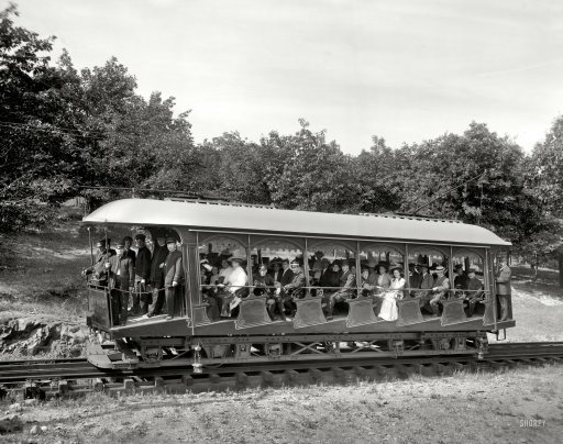 "smartchickscommune:  Mt. Tom Railway: 1908 Holyoke, Massachusetts (vicinity), circa 1908. ""An elevating car — Mount Tom Railway."""