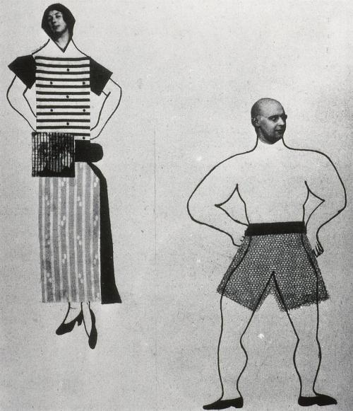 Varvara Stepanova, Page from Nash Gaz (Caricatures of Popova and Rodchenko), 1924