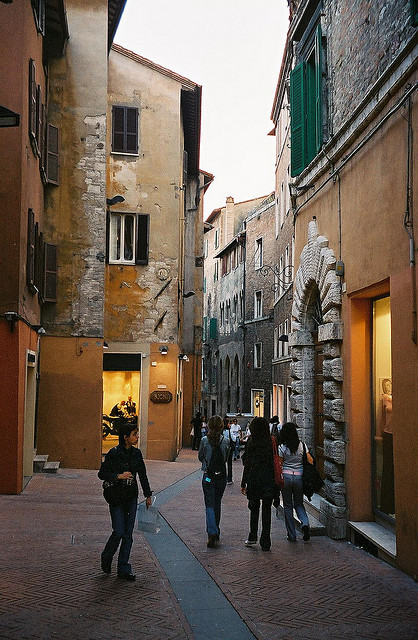 | ♕ |  Old shopping alley in Perugia  | by © ChrisYunker | via ysvoice