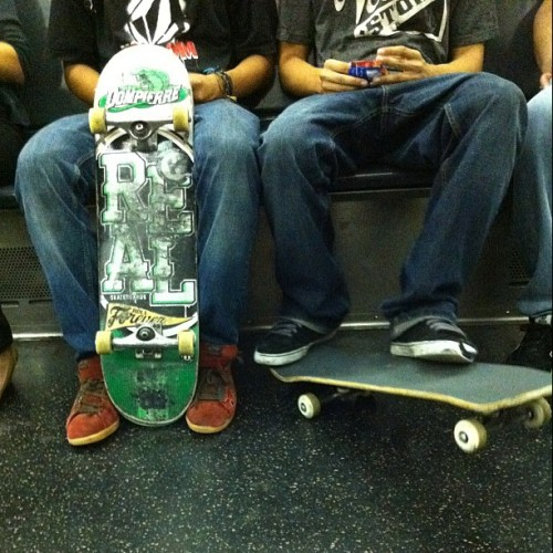 Skaters are the cool. Regardless of the decade. #skatersrule #newyorkcity #subway #nofilter  (Taken with Instagram at MTA subway)
