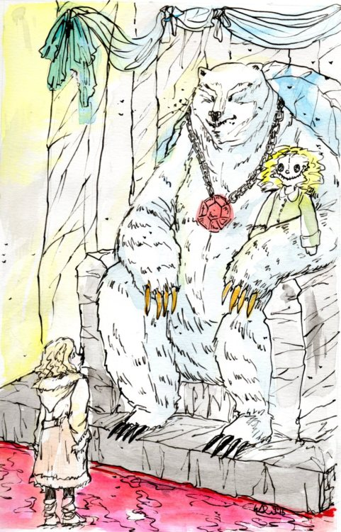 showittotheharpies:   Ch. 19: Captivity Sitting on the throne was the biggest bear she had ever seen. Iofur Raknison was even taller and bulkier than Iorek, and his face was much more mobile and expressive, with a kind of humanness in it which she had never seen in Iorek's. When Iofur looked at her, she seemed to see a man looking out of his eyes, the sort of man she had met at Mrs. Coulter's, a subtle politician used to power. He was wearing a heavy gold chain around his neck, with a gaudy jewel hanging from it, and his claws—a good six inches long—were each covered in gold leaf. The effect was one of enormous strength and energy and craft; he was quite big enough to carry the absurd overdecoration; on him it didn't look preposterous, it looked barbaric and magnificent. She quailed. Suddenly, her idea seemed too feeble for words. But she moved a little closer, because she had to, and then she saw that Iofur was holding something on his knee, as a human might let a cat sit there—or a daemon. It was a big stuffed doll, a manikin with a vacant stupid human face. It was dressed as Mrs. Coulter would dress, and it had a sort of rough resemblance to her. He was pretending he had a daemon. Then she knew she was safe.  This piece was a lot of fun to do! I haven't painted in quite awhile. Watercolors with ink over them.  I'm pretty happy with this piece that I finished today (: