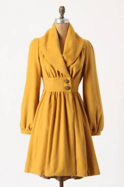fashionpony:  Ruched Marigold CoatPlenty by Tracy Reese @ Anthropologie | sale: $173.60 (original: $248)  i loooooove love love love anthropologie :D