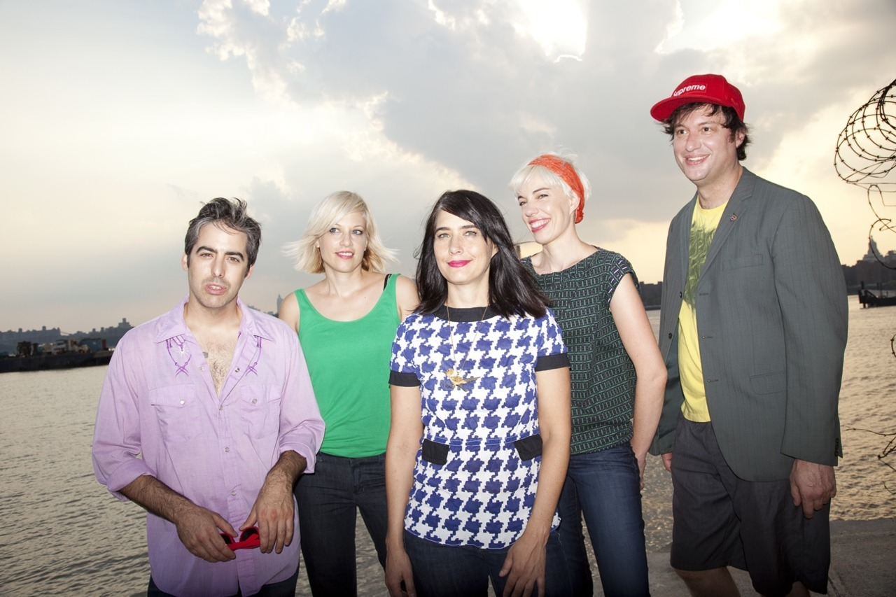 thejulieruin:  First official band photo!  yeah!!!! In Photo L to R: Carmine Covelli, Sara Landeau, Kathleen Hanna, KathiWilcox, Kenny Mellman Photographer: Aliya NaumoffMakeup: Kristin HiltonHair: Jennifer Brent