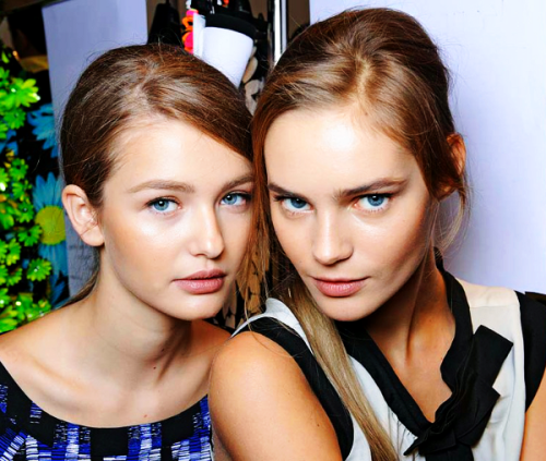 Kristina & Juju (Beauty shot) Blumarine S/S 12 Backstage