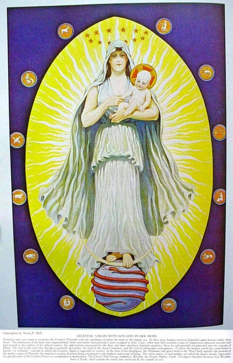 CELESTIAL VIRGIN WITH SUN GOD IN HER ARMS — MASONIC HERMETIC QABBALISTIC & ROSICRUCIAN SYMBOLICAL PHILOSOPHY by Manly P. Hall