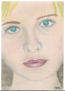 This was my first attempt at drawing a portrait using colored pencils. I used Col-erase, Verathin, and Prismacolor pencils.