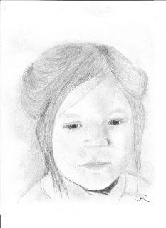 This pencil drawing is of my own daughter when she was about 10 years old. It was drawn from a photograph.