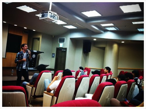 P.Jon breaking the lie that God is apathetic!! (Taken with picplz at Yonsei University 루스채플.)