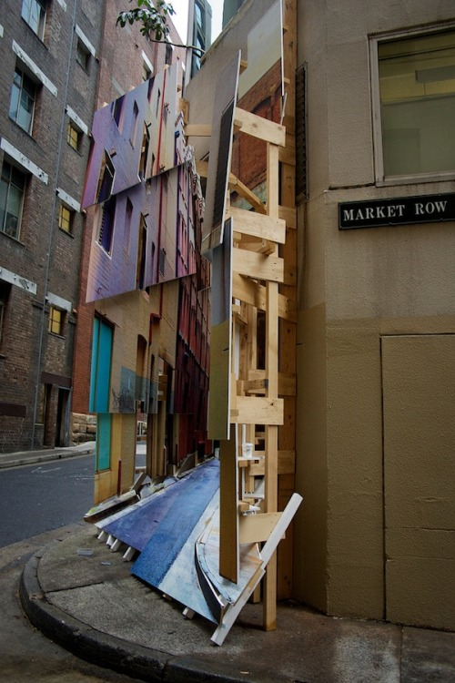 Deconstructing Ways by Isidro Blasco (it will be at Mullins Street and Market Row until January 31, 2012.). Photos via [JAM Project] Art & About Sydney is the city's annual public arts festival that's basically like one   big, open-air art gallery. Projects by Australian and international   artists are creatively re-imagining the streets, turning the city into a   giant canvas. This year's artists include Rebar (San Francisco), Brook Andrew   (Sydney-Melbourne), Barry McGee (San Francisco), Magda Sayeg (Austin),   curated by Amanda Sharrad and Justine Topfer, with individual projects   by Isidro Blasco (New York), Heidi Axelson, Hugo Moline and Adriano   Pupilli (Sydney) and Sarah Langdon and Emma Pike (Sydney).