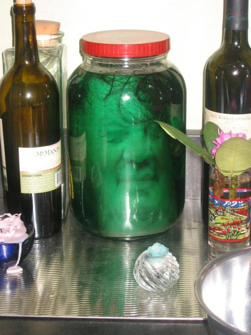 DIY Head in a Jar. Totally awful and creepy - but it's Halloween time! Tutorial from Dabbled here. Not as hard as it looks AT ALL. She used laser printed slick heavy paper (or go get a cheap color copy at the store - just don't use inkjet printer) with a flattened 3D type of image (go to the site - she has examples of the type of face you need). Great effect!