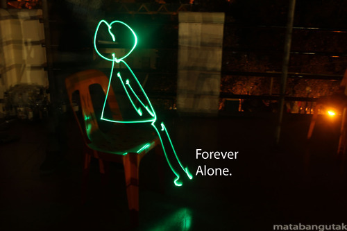 My first lightpaint. The Forever Alone Lightpaint :)