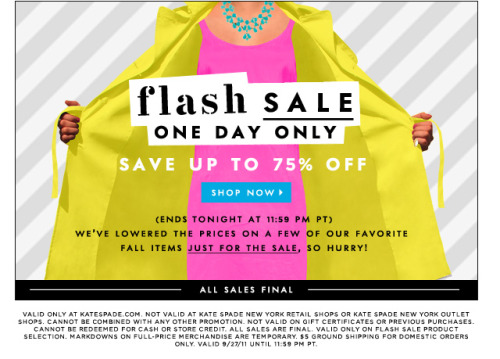 luckymag:katespadeny:one day only!  Great sale. Also, can we talk about the graphic….because it's perfect.