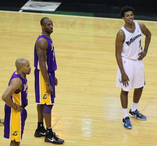 the King….the heir to his throne Kobe Bryant and Nick Young aka Kobe JR.