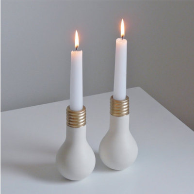 etsy:  (via Porcelain Light Bulb Candlesticks The by EcoElements on Etsy)