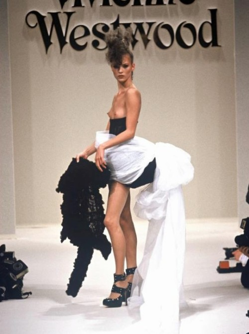 horreure:  kate moss wearing the bridal gown at vivienne westwood fall winter 1994/95