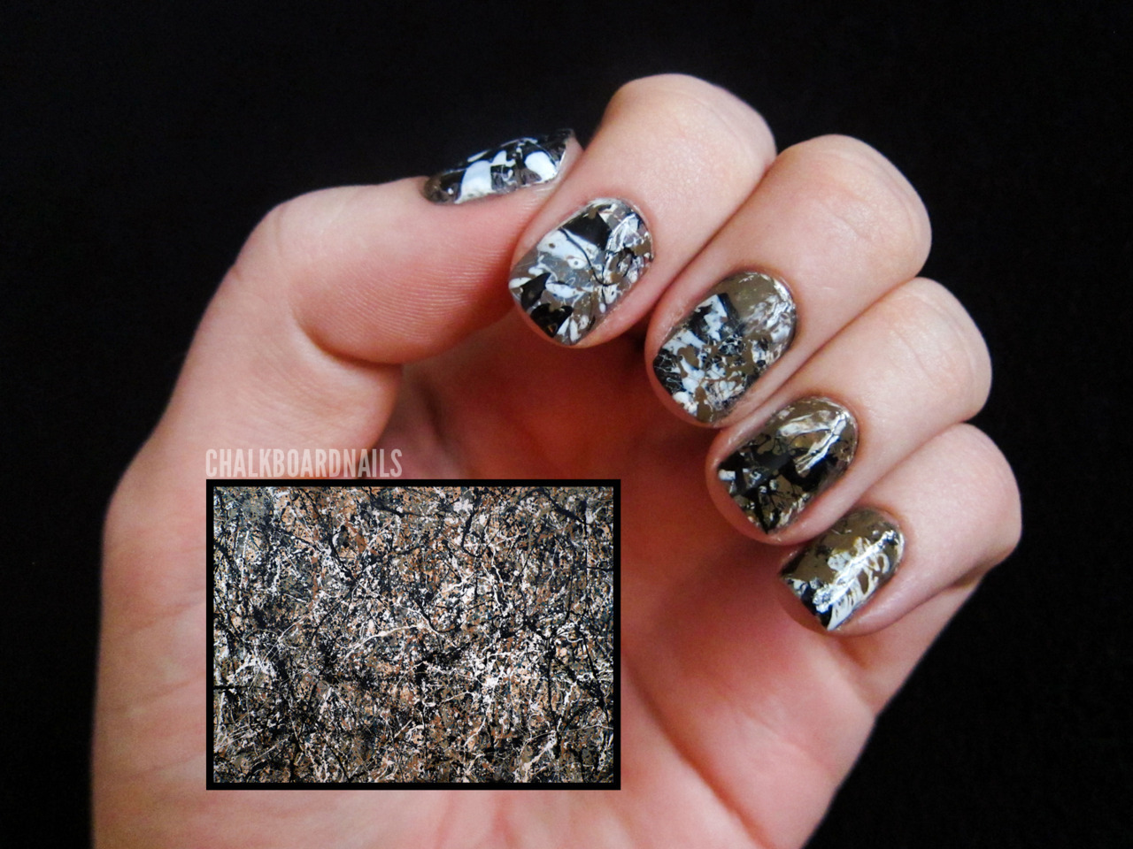 Day 27: Inspired by ArtworkJackson Pollock, One: Number 31 China Glaze RecycleChina Glaze White On WhiteWet N Wild Ink WellOPI A-Taupe the Space Needle