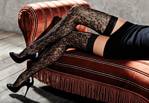 sockitup:  Black lace thigh highs with floral pattern