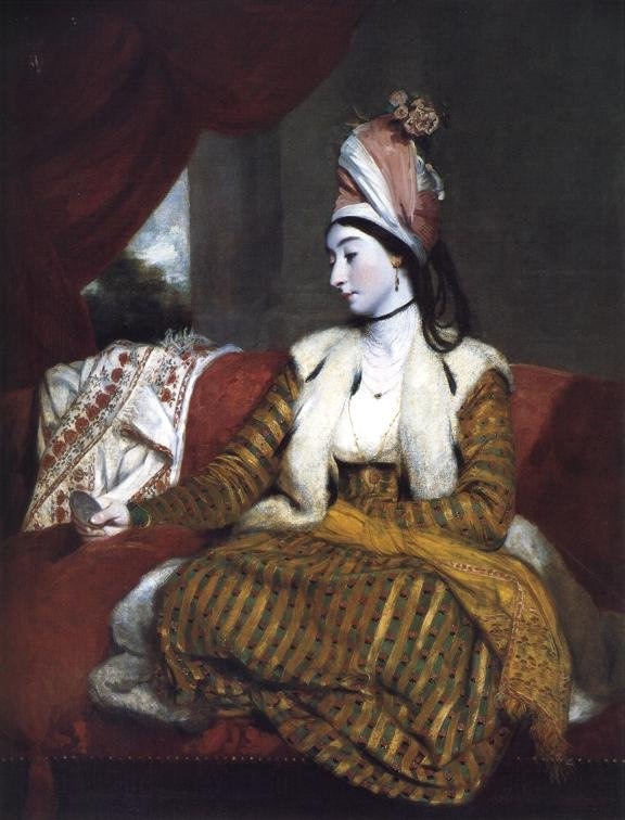 art-mirrors-art:  Sir Joshua Reynolds - Mrs Baldwin in Eastern Dress (1782) PS: I assume she holds a mirror, but I am not completely sure. Some interpret the object as a coin, and go about the symbolism of money etc. Need to check later (or perhaps the Tumblesphere will help.)