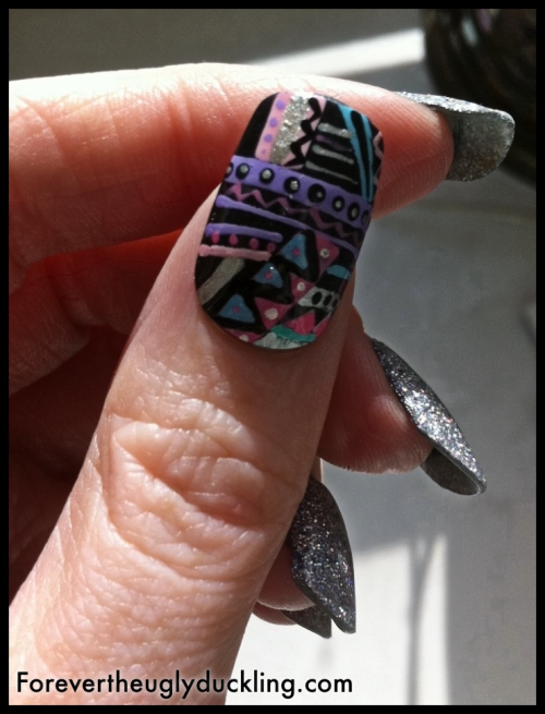 marinalaplacenta:  This is one of the nails from the set I will be giving away on my blog soon.