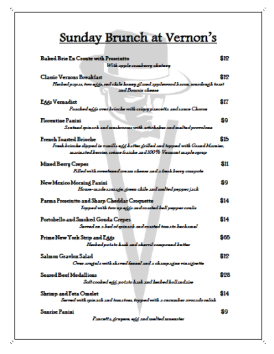 A new Sunday Brunch menu plus $2 Mimosas and Bloody Mary's this Sunday at Vernon's!
