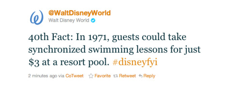 Times sure have changed since WDW opened in 1971. This fact made me laugh. -Cory U