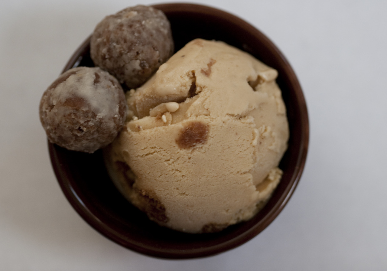 milkmade flavor of the day: Red Rumrooibos-cinnamon ice cream with rum ballsOur flavor creation process is sometimes based around one main ingredient (Watermelon Snow), sometimes it's an ice cream rendition of our favorite dessert (Red Velvet Cake), and sometimes a flavor name is so perfect that we have to concoct a 'scream to match.  Red Rum was a hybrid of ingredient and name - we long ago realized that our favorite red tea makes a killer 'scream, especially when paired with a touch of cinnamon and vanilla. So silky and light, yet full of flavor. Yum. When deciding what to mix in, the name Red Rum came to mind. Perfect! Especially for the spooky month of October. But how to incorporate rum? After many failed attempts at a rooibos-rum base, we almost gave up on Red Rum. But then - enter Emily Dubner of Baking for Good who created, just for MilkMade, these rum balls. They're so good, I can't keep my hands off them. It's a cookie dough/donut hole/shot of rum in each ball. And we're packing them into our rooibos pints this October. Watchout!  Note that we recognize our pals Ben & Jerry just announced their Schweddy Balls 'scream. It truly was a coincidence - the announcement came the day after we placed the order with Baking for Good. Great minds, or something!
