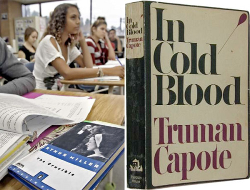 "latimes:  The landmark 1966 literary nonfiction book ""In Cold Blood"" by Truman Capote may not make it onto a high school honors reading list in Glendale after obections were raised by a committee made up of school principals. Meh. Seems either totally appropriate or totally inappropriate for Banned Books Week. Photo: (left) An advanced placement language class taught by Glendale High School teacher Holly Ciotti discusses Arthur Miller's ""The Crucible."" Credit: Raul Roa / Times Community News. (right) Truman Capote's ""In Cold Blood.""  I almost love the juxtaposition. Almost."