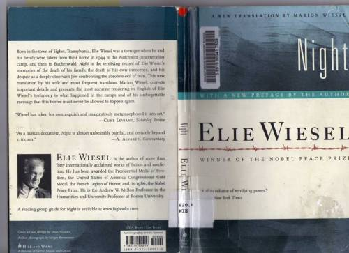 kitteringhamhistory12:   Night is a work by Elie Wiesel about his experience with his father, Shlomo, in the Nazi German concentration camps at Auschwitz and Buchenwald in 1944–1945, at the height of the Holocaust and toward the end of the Second World War.  I agree to most of the comments below. I was impressed by how successful the Nazis were at hiding secrets from the people, and how powerful propaganda was. I can't imagine how they burned those innocent babies.. The power the SS soldiers had was powerful as well. People had to obey and follow what they said. I'm also impressed by how strong the boy was. He was only 15 and had no fear of facing death. He said he'd rather throw himself onto the barbed wire than burned to death. He was basically marching to death, yet he was not afraid of it. He accepted the fact that he was in the concentration camp and living in that kind of tough environment. That is something I could have never imagine. Despite all those cruel things done by the Nazis, this book was pretty interesting to read.