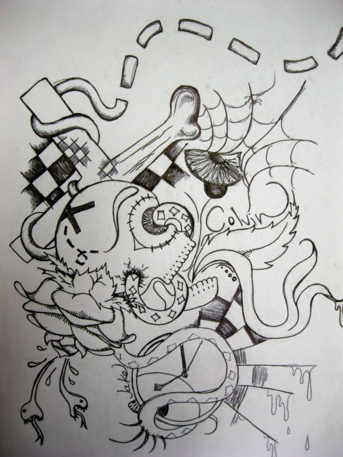 Tattoo idea sketch I did for a friend, hence the name in it. I'm not good at photoshop to edit it out. >.<