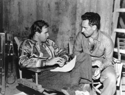 "allyouneedismovies:  Marlon Brando and director Elia Kazan on the set of ""A Streetcar Named Desire"" (1951)"