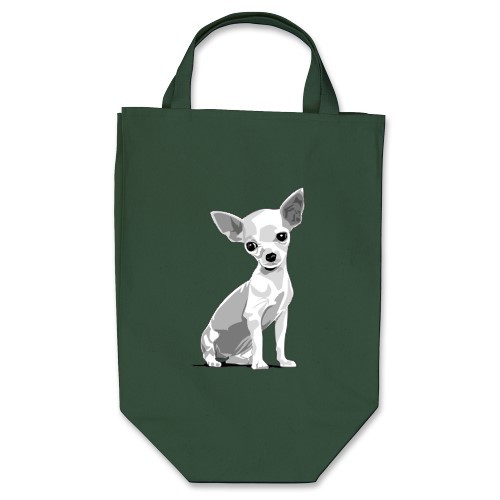 "Chiuahua.  ""Paper  or Plastic?"" You'll say, ""No, thanks"", when shopping with this  environmentally friendly tote. Its wide bottom makes it great for  groceries or larger items. Made from 12oz cotton twill, it has  cotton-web handles which have stress-point reinforced stitching."